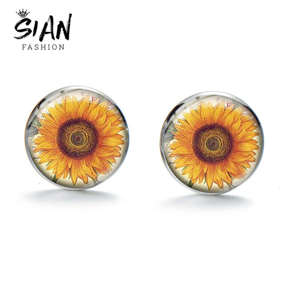 סיאן טבעי חמניות דפוס חפתים קלאסי פרחי כסף מצופה חליפת חולצה זכוכית חפתים נשי אביזרים מעודנים