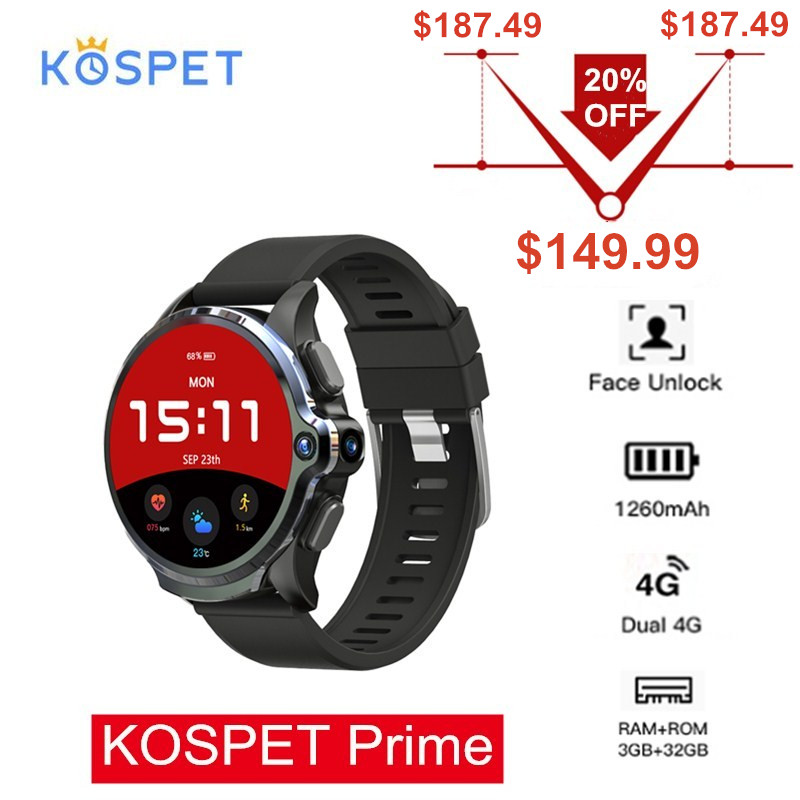 KOSPET Prime 4G Smartwatch Phone 3GB 32GB 1.6'' Sports <font><b>Smart</b></font> <font><b>Watch</b></font> <font><b>Men</b></font> with Dual Cameras <font><b>GPS</b></font> 1260mAh Battery Face ID Unlock image
