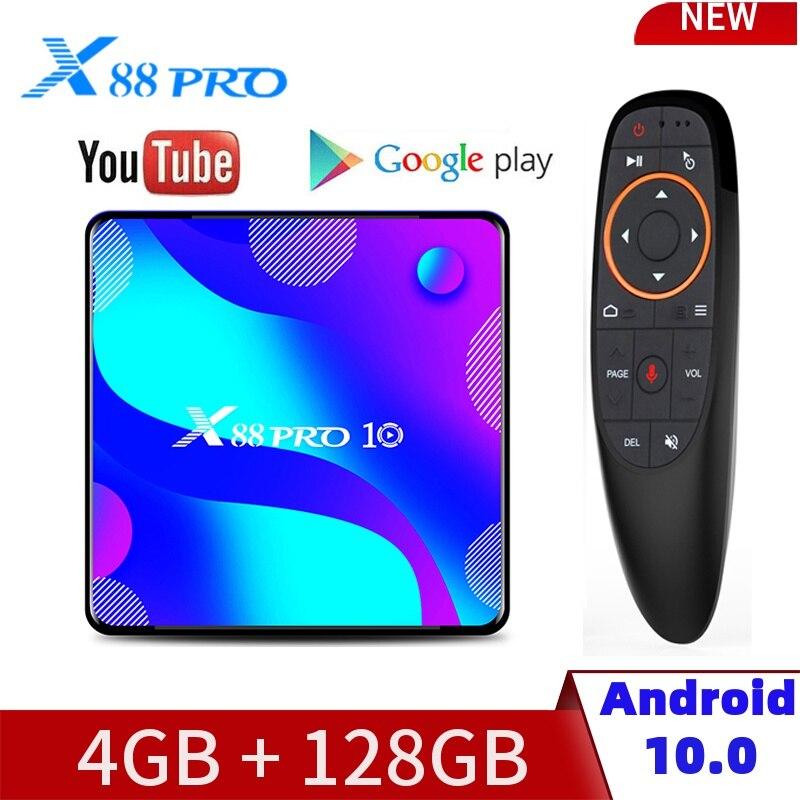 X88 PRO10 Смарт ТВ коробка Android10.0 RK3318 4 Гб Оперативная память 32/64/128 ГБ Встроенная память 4K 2,4G & 5G Wi-Fi ТВ коробка Bluetooth Media Player Декодер каналов кабель...