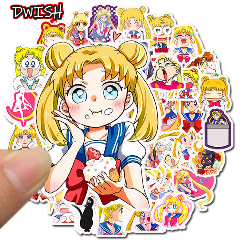 50pcs/Pack Waterproof PVC Sailor Moon Stickers Skateboard Guitar Suitcase Bicycle Girl Graffiti Sticker Kids Funny Classic Toy