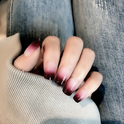 24 Pcs New Red Wine Gradient Color Long False Nails Fashion Popular Fake Nails For Ladies And Girls With Glue Stickers