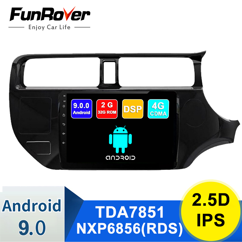 FUNROVER IPS 2G+32G Android9.0 Car Radio Multimedia <font><b>autoradio</b></font> Player Navigation GPS For Kia RIO K3 2012-2014 <font><b>2din</b></font> right drive FM image