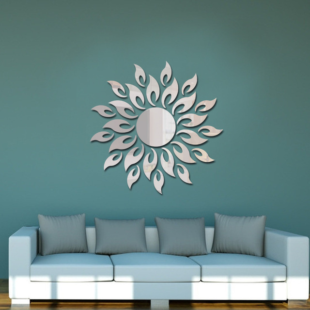 1set 3d Mirror Wall Stickers Sun Flower Flame Decorative Stickers Room Decoration Home Decor Living Room Luxury Style Bedroom 2