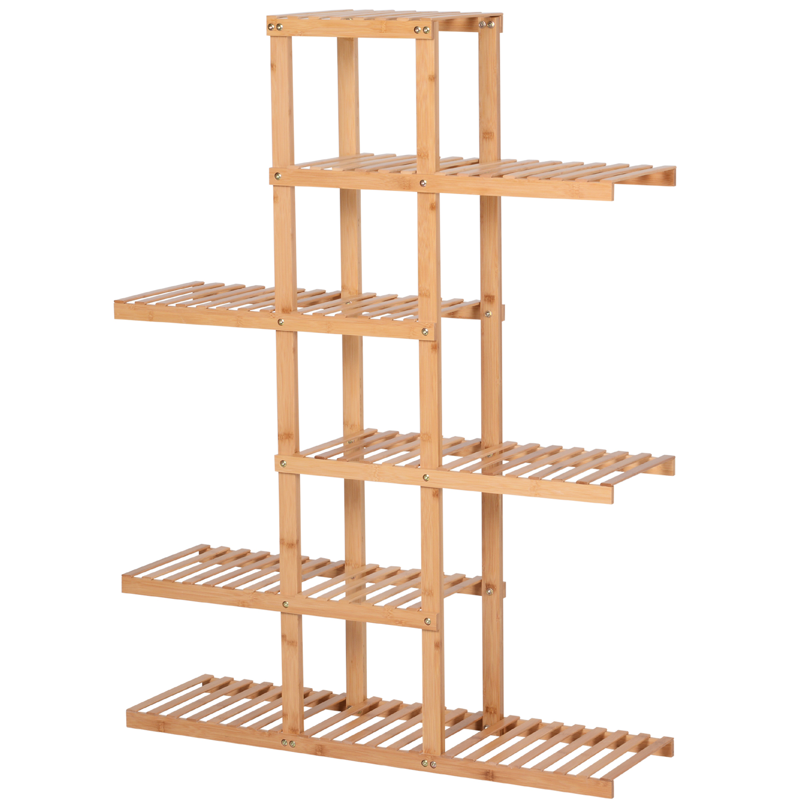 HOMCOM Shelf In Natural Bamboo With 6 Shelves, Indoor And Outdoor, Max Load 30kg, 98x28x132cm;