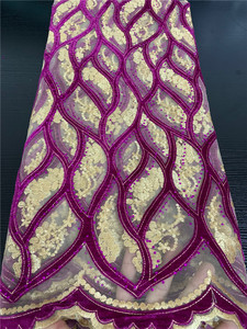 Image 5 - Embroidery Velvet Lace Fabrics High Quality African Lace with Stones French Tulle Mesh Lace Fabric for Wedding Dress APW2763B
