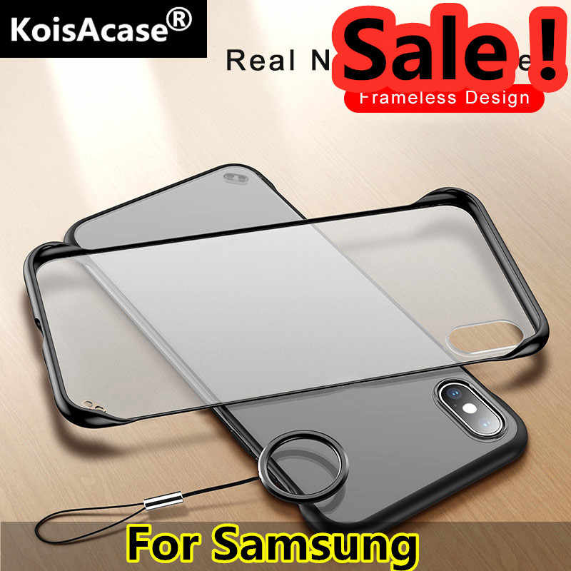 KoisAcase Frameless clear Matte Hard Phone Case For Samsung S8 S9 S10 Plus Lite Note 8 9 10 A50 A60 A70 A80 With Finger Ring