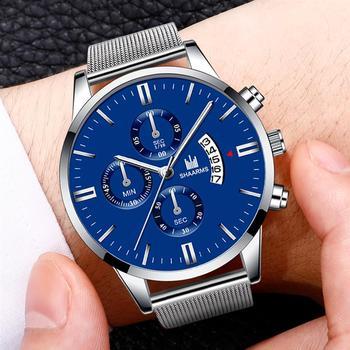 שעון אופנתי עם תאריך רצועת רשת