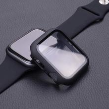 Szkło hartowane + etui na zegarek Apple 6 5 4 se 3 ochraniacz ekranu + osłona zderzaka akcesoria iwatch etui na zegarek 44mm 40mm 42mm 38mm cheap Lerxiuer CN (pochodzenie) Odporne na zarysowania Screen Protector Case Nano powlekane szkło hartowane filmu For Apple Watch Screen Protector