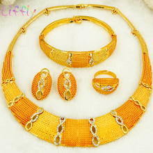 Liffly african Jewelry Sets for Women Round Shape Necklace Bracelet Earrings Ring Creative Wedding Jewelry Sets for Bride