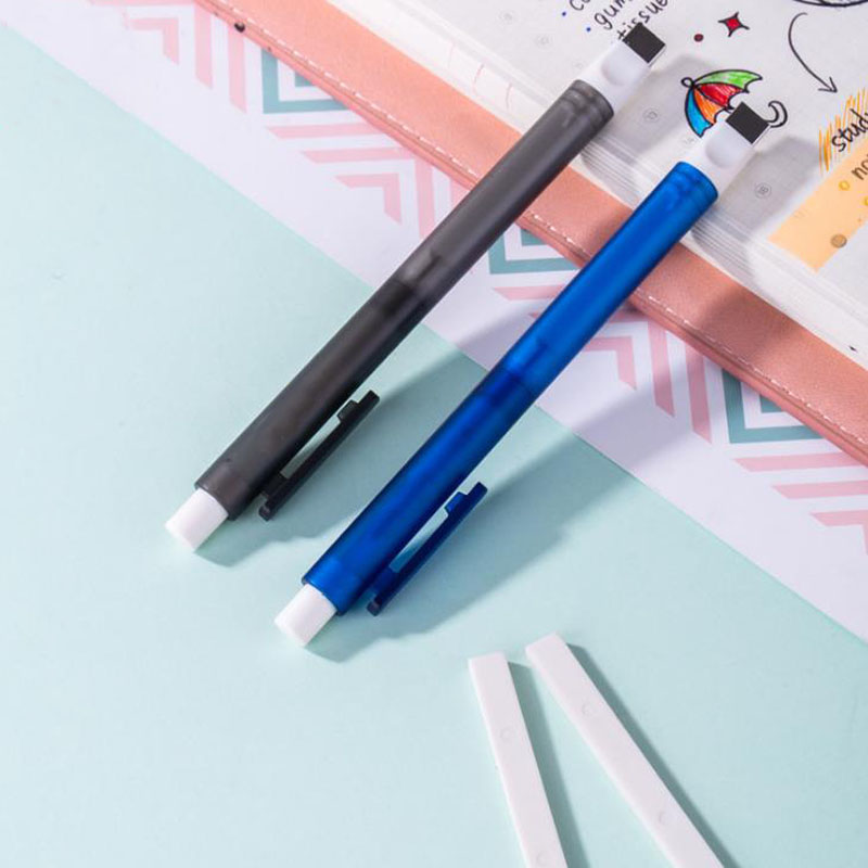Simple Pen Shape Rubber Press Retractable Eraser Mechanical Eraser Refillable Refills Sketch Drawing School Stationery Gifts