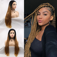 Gossamelle Ombre Brown Blonde Wig Braided Lace Front Wigs Long Synthetic Wigs For Black Women Two Tone Braided Box Braids Wig
