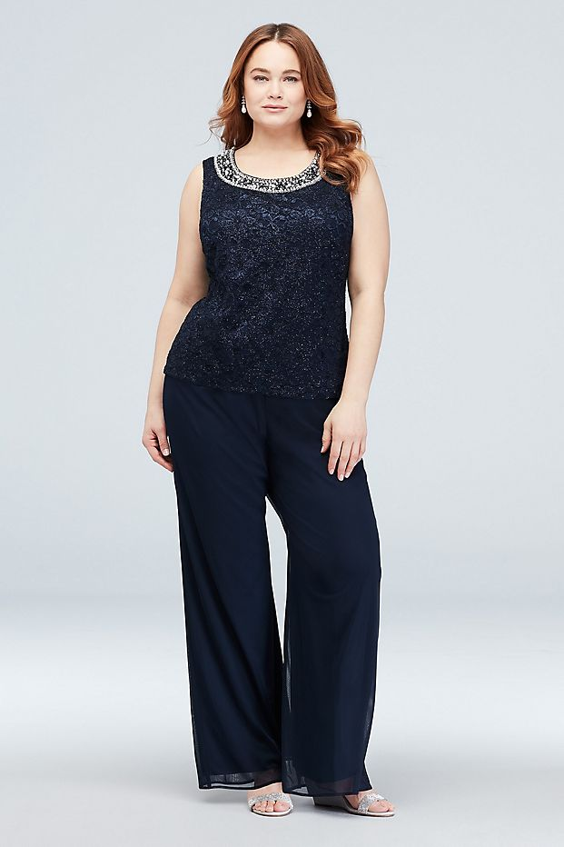 Mother of the Bride Dress  Plus Size Waterfall Glitter Lace Chiffon Plus Size Set 3pcs suit  jacket top and pant