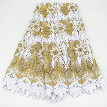 Latest white African embroidered tulle fabric 2020 high quality French milk silk lace fabric 5 yards