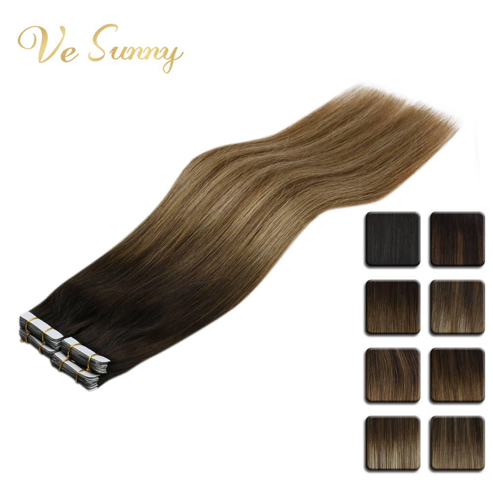 VeSunny Tape In Human Hair Extensions  Adhesive 2.5gr/pc 14-24inch Dark Brown Root Ombre Balayage Blonde Highlights Color