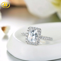 Hutang Classic Wedding Similar Diamond Rings For Women 2 1/2 Cart Engagement Ring Solid 925 Sterling Silver Fine Jewelry