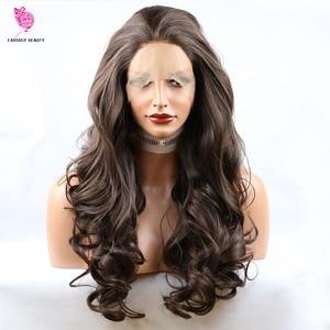 Image 3 - Peruca de cabelo sintético, fantasia beauty 180%, densidade 26 polegadas, frontal, natural, castanho, reto, ondulado, resistente ao calor, fantasia