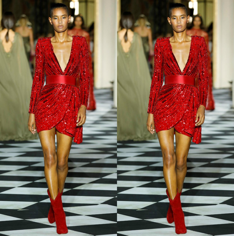 Sparkly Red Short Prom Dresses Deep V Neck Lace Sequins Sexy Mini Evening Dress Custom Made Long Sleeve Robes De Mariée