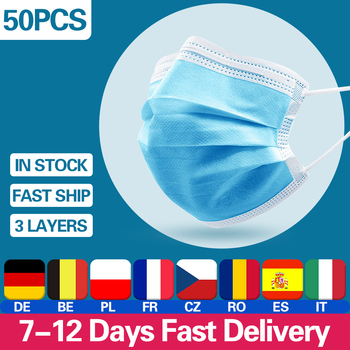 Disposable Mouth Face Mask 3 Layer Mouth Masks Soft Breathable  Earloops Meltblown Cloth Non-woven Mask