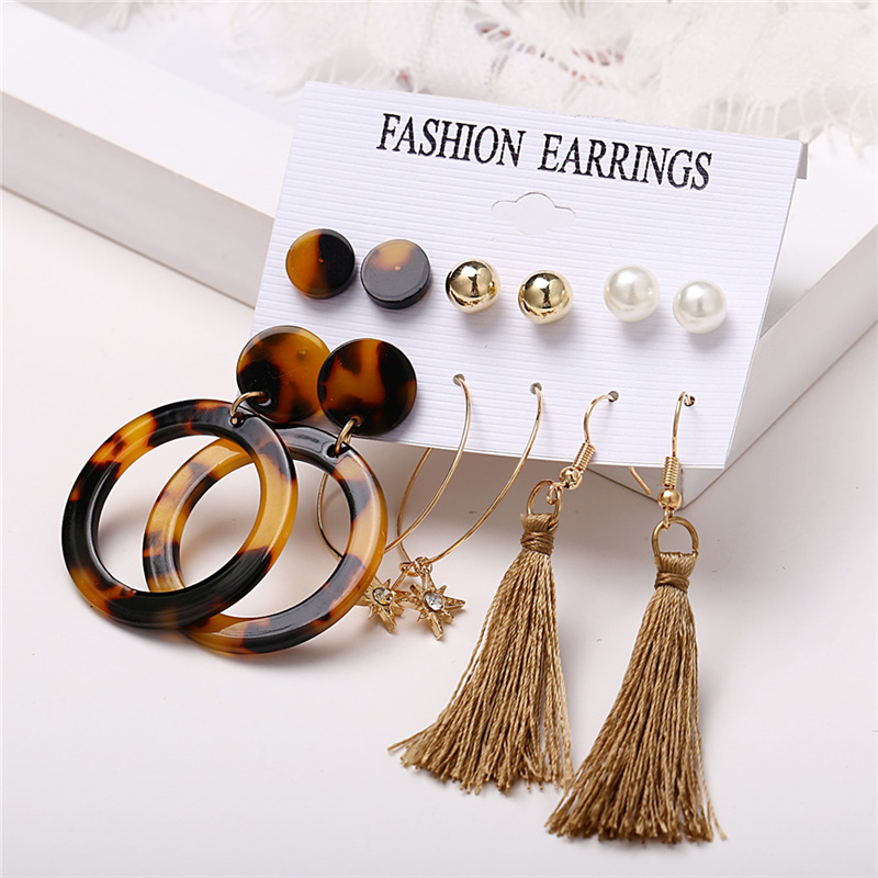 IF ME Fashion Vintage Gold Pearl Round Circle Drop Earrings Set For Women Girl Large Acrylic Tortoise shell Dangle Ear Jewelry 4