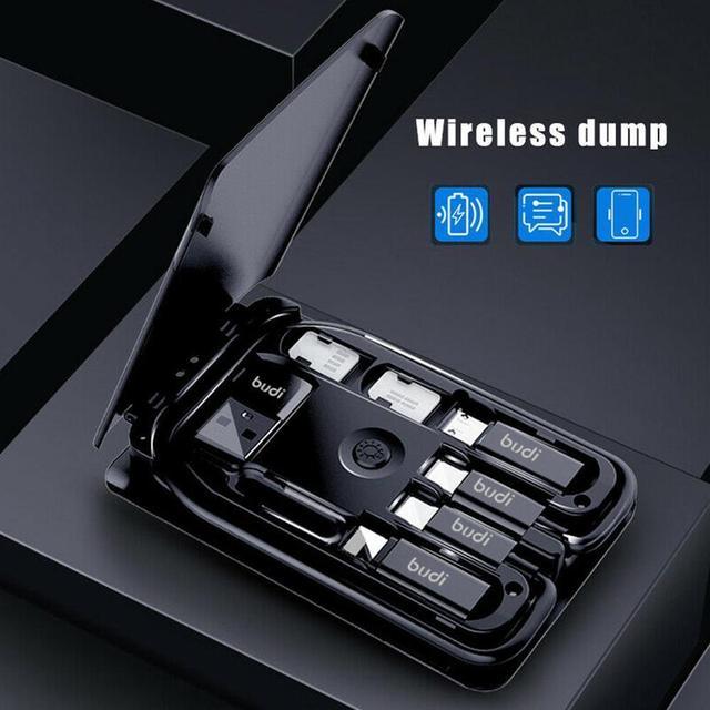 BUDI Multi-funzione Smart Card Adapter Cavo Di Dati di Archiviazione Box USB Caricabatterie Universale Senza Fili per il iPhone Xiaomi Huawei 2