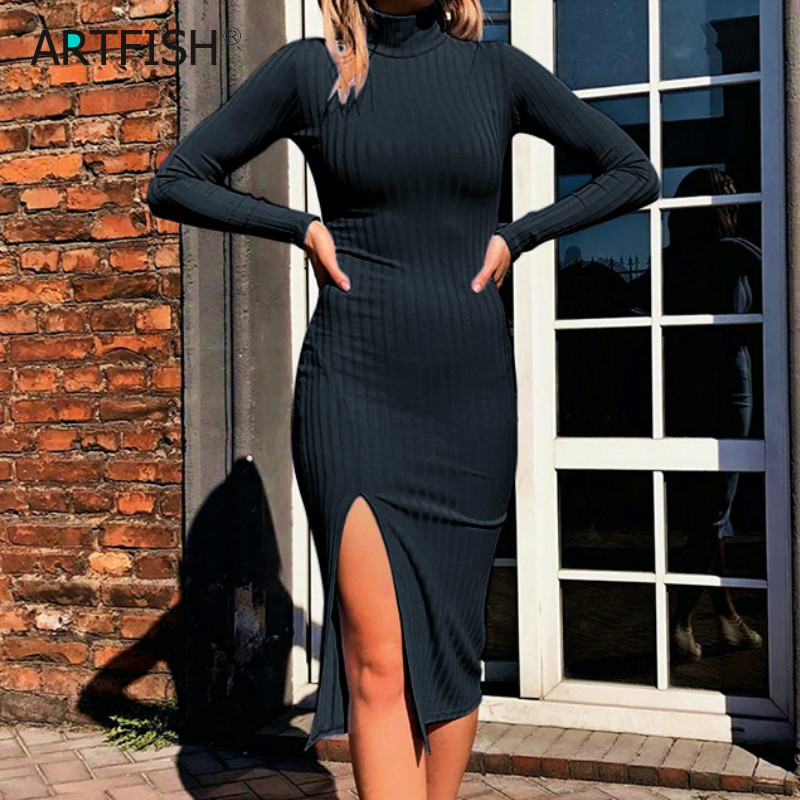 Turtleneck Knit Ribbed Long Sleeve Autumn Dress Women Black Split Pencil Dress Sexy Evening Club Outwear Bodycon Outfits GV033