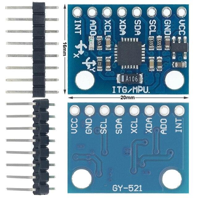 50PCS GY 521 MPU 6050 MPU6050 Module 3 Axis analog gyro sensors+ 3 Axis Accelerometer Module C74