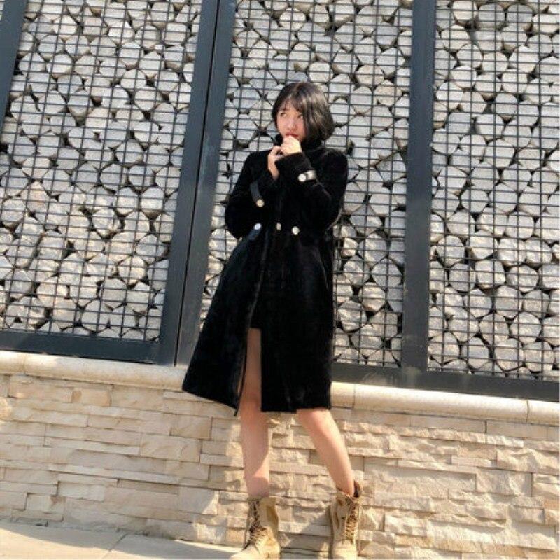 Women Long Coats Real Lambwool Standing Collar Winter Warm Thick Soft Korean Fashion Shearling Fur Casual Ladies Coats