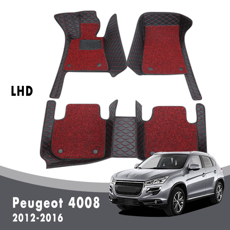 Auto Carpets Double Layer Wire Loop For <font><b>Peugeot</b></font> <font><b>4008</b></font> <font><b>2016</b></font> 2015 2014 2013 2012 Car Floor Mats Accessories Custom Leather Rugs image