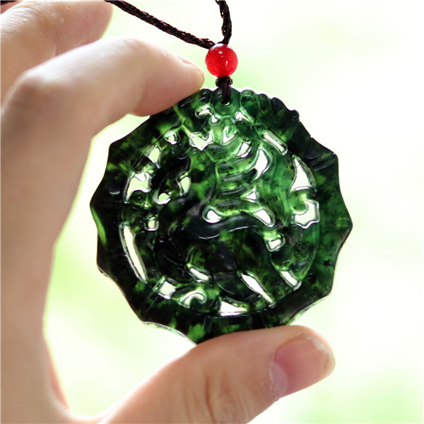 Hollow Out Double-sided Carved Horse Jade Pendant Natural Black Green White Necklace Charm Jewellery Fashion Amulet Gifts