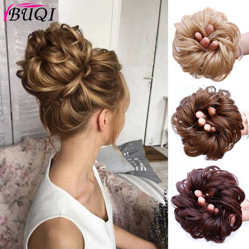 BUQI Fashion Women Scrunchie Hair Bun Extension Elastic Hairpiece Hair Bands Fashion Ladies Wig Hair Accessories 9 Colors