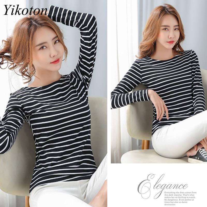 Long Sleeve Basic T Shirt Female Women's Black White Striped Plus Size 5XL Tshirt Cotton 2021 Spring Autumn Tee Shirt Ladies Top 2