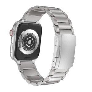 Image 2 - Pulseira de liga de titânio para apple watch band 38mm 42mm metal pulseira de pulso três links pulseira para apple assistir série 1 2 3 4 5