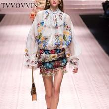Tops largos europeos primavera 2019 mujeres elegante Vintage arco Floral bordado Blusa con manga de linterna camiseta en blanco y negro deman V711