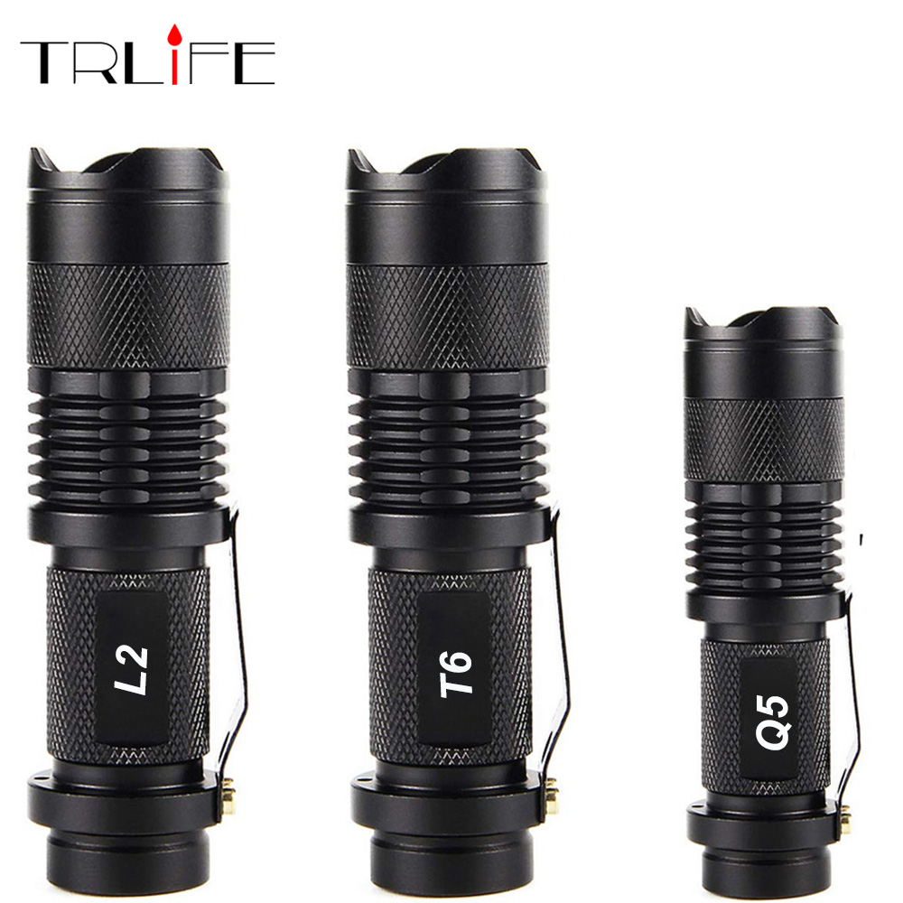 Portable Mini Q5/T6/L2 Aluminum Waterproof 3/5 Modes Zoomable Led Flashlight Torch Tactical Light By 18650 And AA 14500
