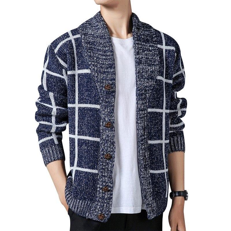 Men Sweaters Cardigan Slim Fit Men Plaid Knitwear 3XL