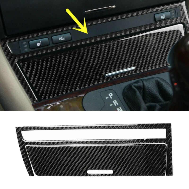 2 Pcs Carbon Fiber Interior Mobil Central Cover Dekorasi Hiasan untuk BMW Tua 3 Series E46 1998-2005 Central strip Penutup