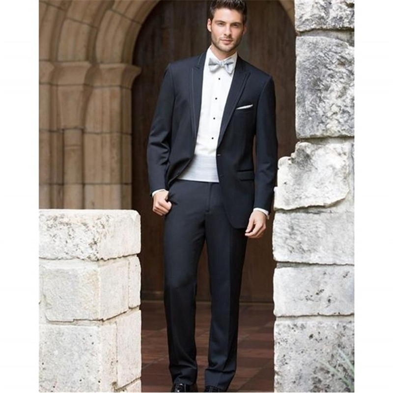 Formal Navy Blue Mens Wedding Tuxedos Spring Custom Made Spring Banquet Party Dress For Men Two Pieces (Jacket+Pant)