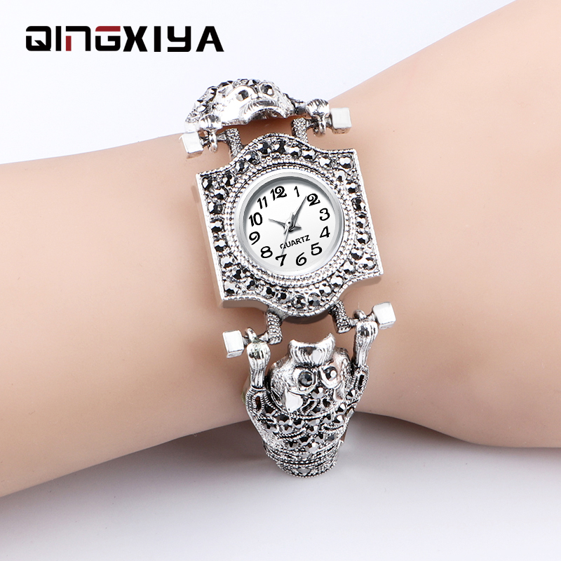 QINGXIYA Diamond Watch For Women Luxury Brand Ladies Antique Silver Watch Minimalist Analog Quartz Movt Unique Female Watch