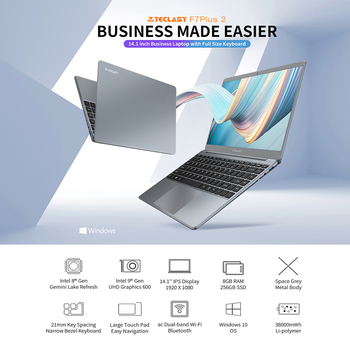Laptop Teclast F7 Plus 2 Window 10 1920×1080 Intel Gemini Lake N4120 14.1 Inch 8GB RAM 256GB SSD Ac Dual-Band WiFi Notebook 2
