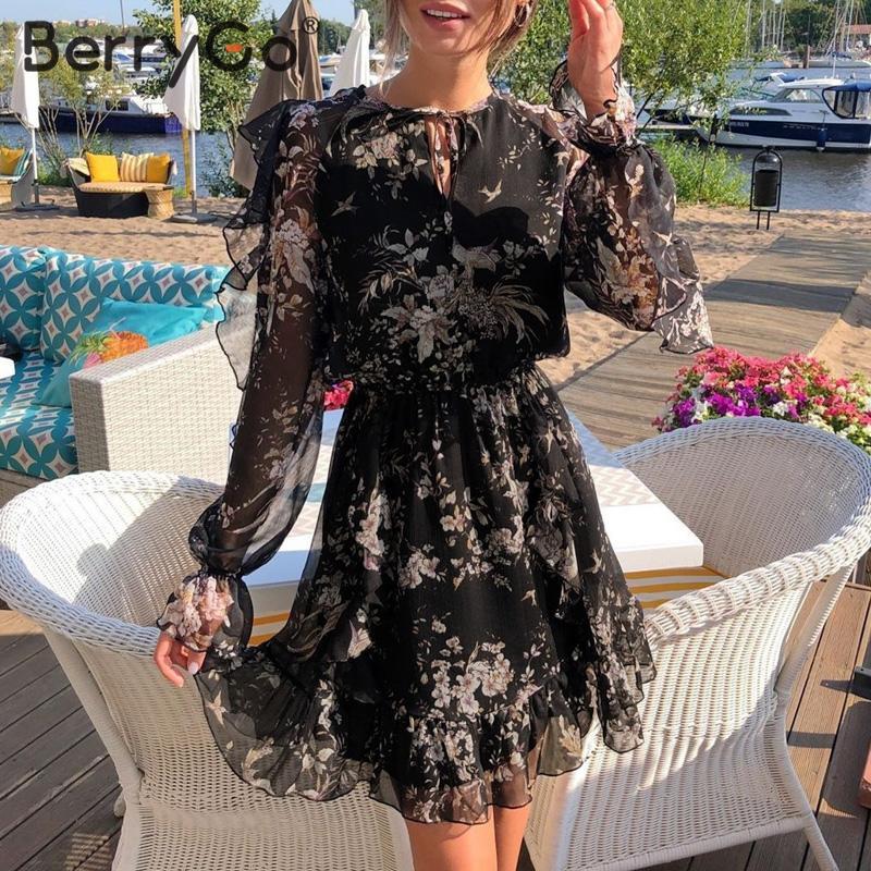 BerryGo Элегантное короткое платье с цветочным принтом женское платье с v-образным вырезом на шнуровке с длинным рукавом весеннее платье с высо...