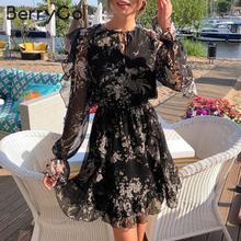 Berrygo 우아한 짧은 꽃 프린트 드레스 여성 v 목 레이스 긴 소매 봄 드레스 높은 허리 뻗 치고 휴일 여름 드레스
