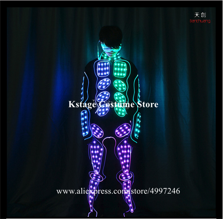 Programmable full color led robot men outfit full color dmx tron led dance costumes RGB light stage wears dj clothe colorful bar - 5