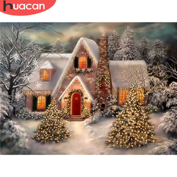 HUACAN 5D Diamond Painting Winter Full Square/Round Diamond Embroidery Christmas Tree Mosaic Landscape Decortion