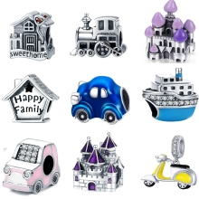 Bisaer 925 Sterling Silver Travel Car House Beads Charms Fit Bracelets & Bangles Jewelry Making Gift