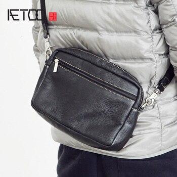 AETOO Men's leather shoulder bag, head leather slant bag, soft leather bag