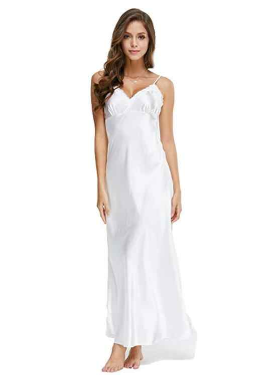 Dantel Nightgowns V Yaka Uyku Elbise Beyaz Ayak Bileği yüksek Kıyafeti Kadın Spagetti Kayışı Gecelik Uzun Pijama Kadın SLA501W