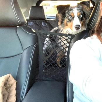 Dog Seat Cover Car Carrier Rear Seat Pet Fence Anti-collision Mesh Pet Auto Barrier Safety Isolation Net Pet image