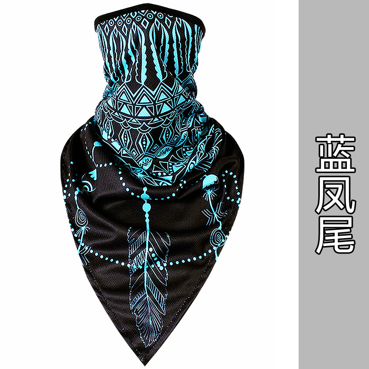 Новое ледяное шелковое треугольное полотенце крутой дышащий платок на голову воротник Мужская и женская маска от Солнца маска ошейник - Цвет: Blue phoenix tail