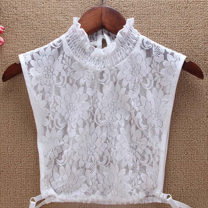 Women's New Shirt Fake Collar Multi-layer Lace Pleated Collar Hollow Chrysanthemum Detachable Shirt Fake Tie 2020 Hot