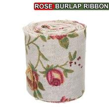 1pc 300cm vintage rosa floral impressão serapilheira hessian fita tecido casamento artesanato decorações diy doces frascos guardanapo de mesa